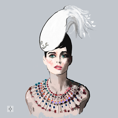 Lady with white feathers hat